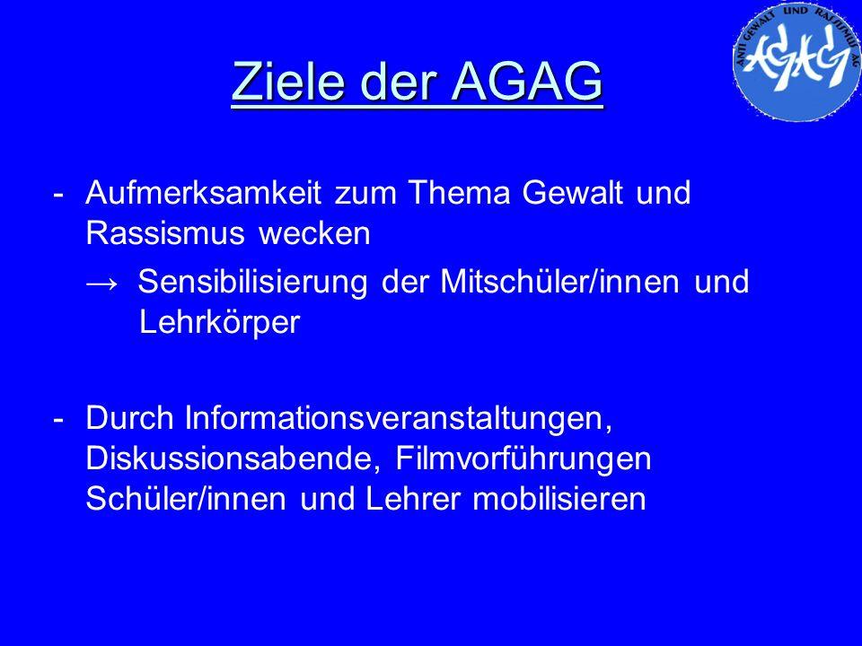 Ziele der AGAG Aufmerksamkeit zum Thema Gewalt und Rassismus wecken
