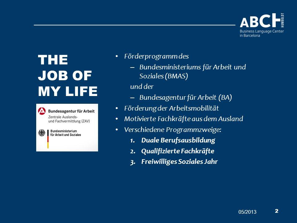 The job of my life Förderprogramm des