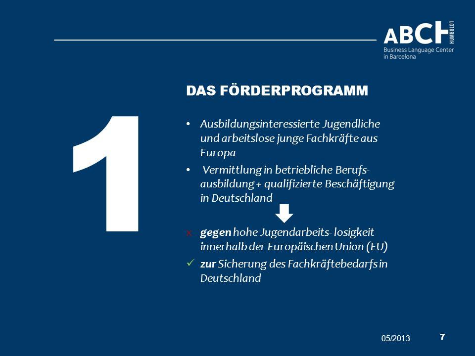 1 Das förderProgramm. Ausbildungsinteressierte Jugendliche und arbeitslose junge Fachkräfte aus Europa.
