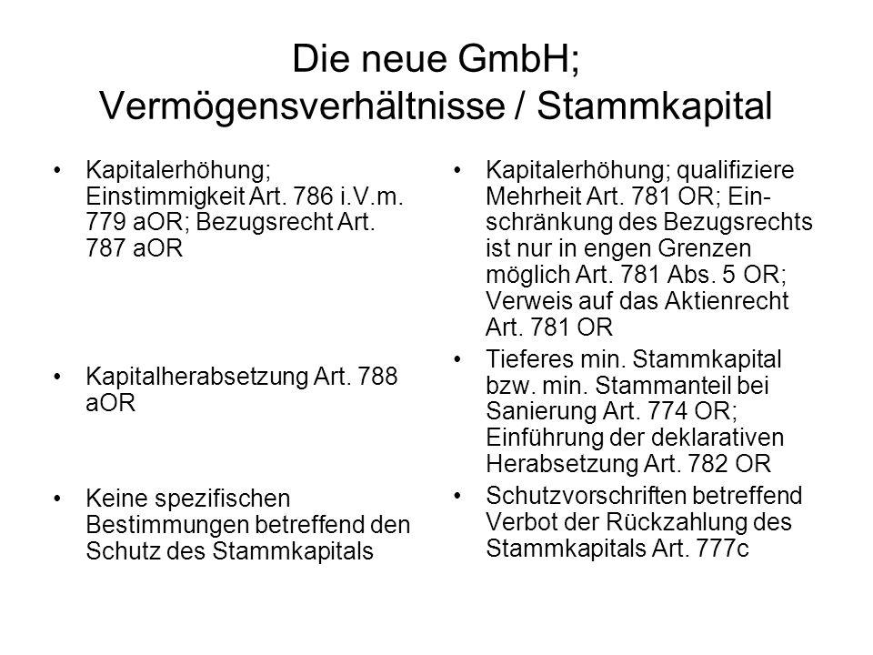 Die neue GmbH; Vermögensverhältnisse / Stammkapital
