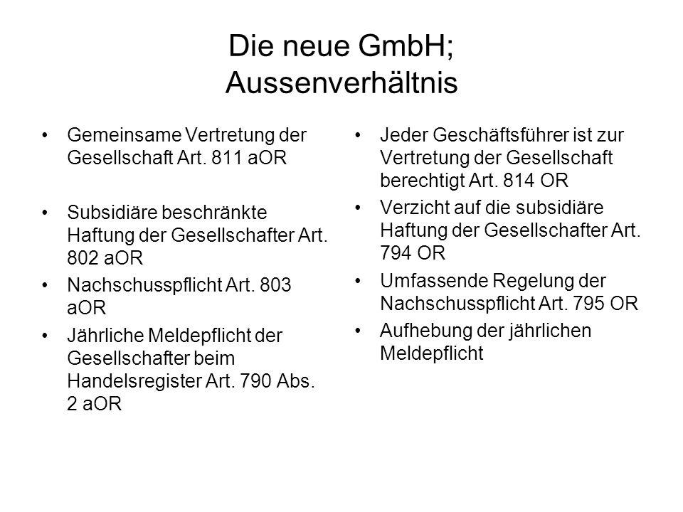 Die neue GmbH; Aussenverhältnis