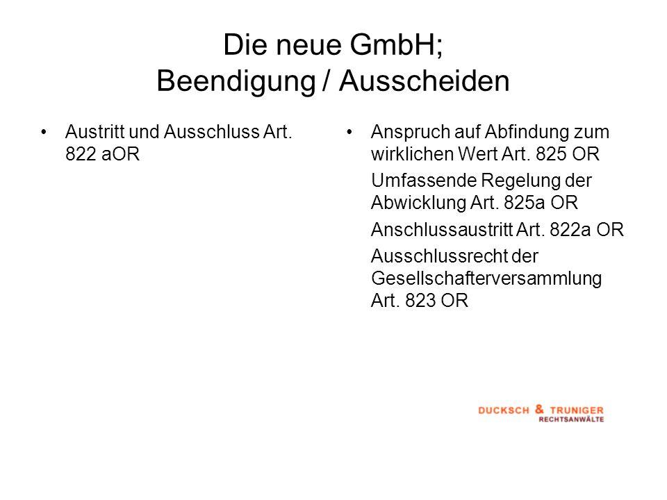 Die neue GmbH; Beendigung / Ausscheiden
