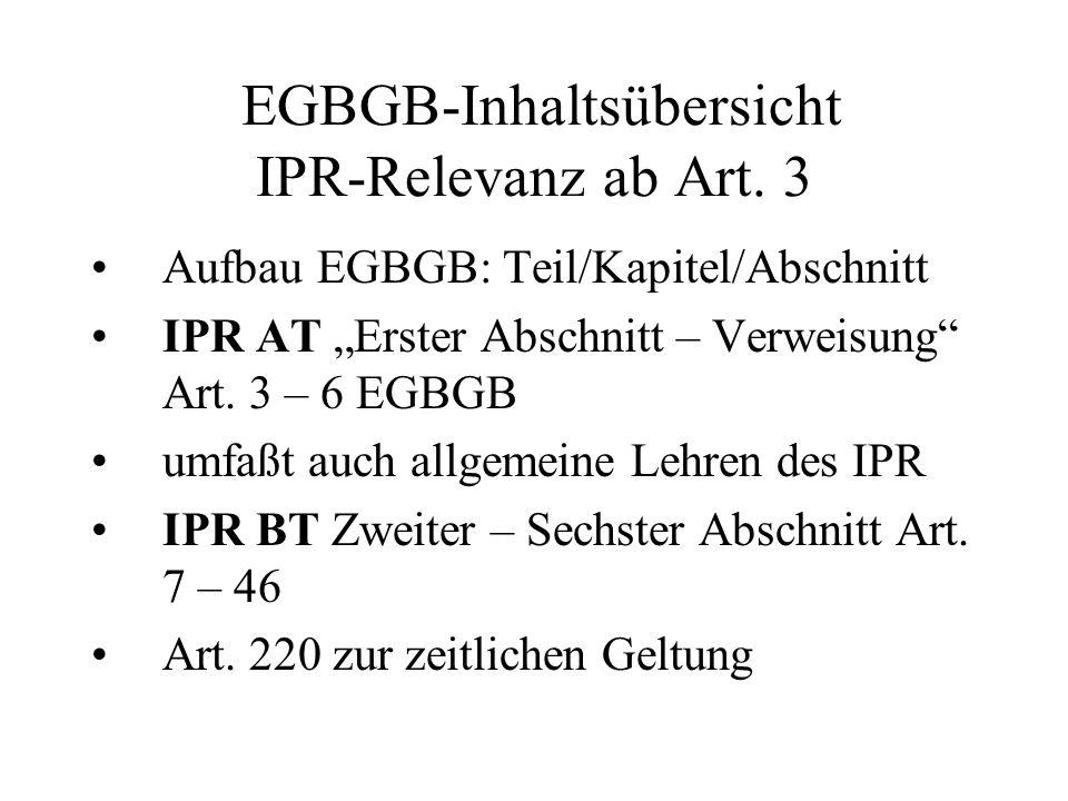 EGBGB-Inhaltsübersicht IPR-Relevanz ab Art. 3