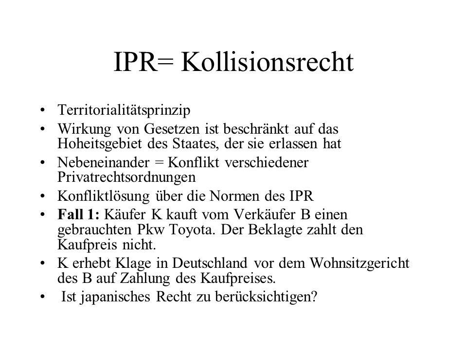IPR= Kollisionsrecht Territorialitätsprinzip