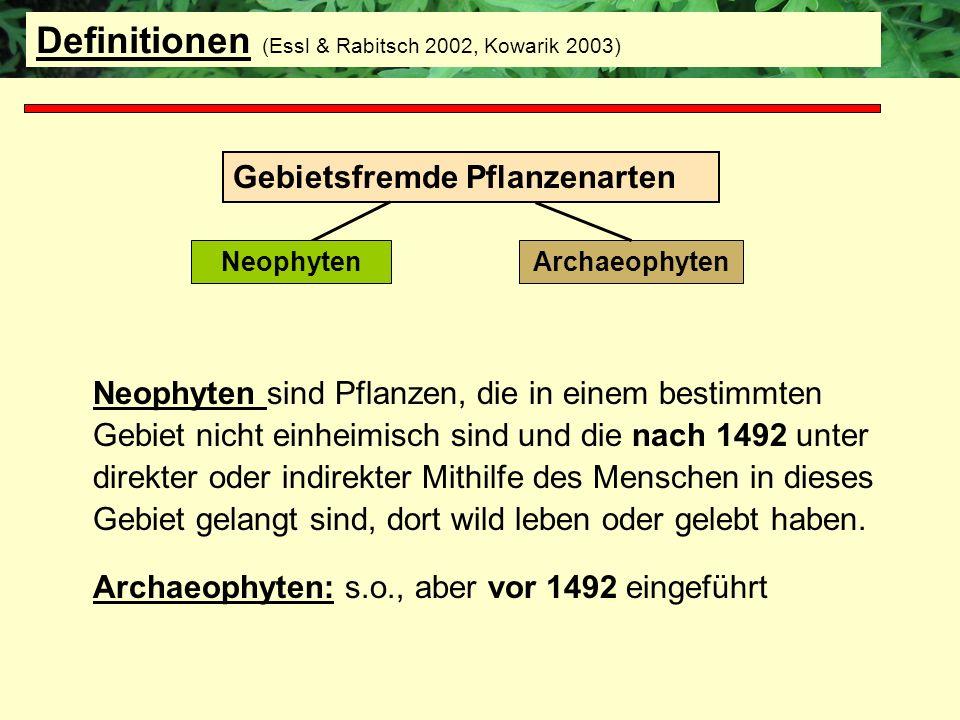 Definitionen (Essl & Rabitsch 2002, Kowarik 2003)