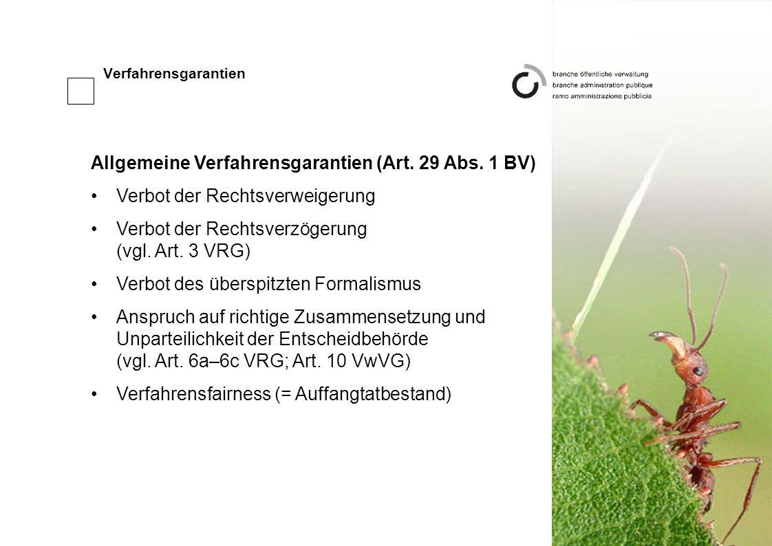 Allgemeine Verfahrensgarantien (Art. 29 Abs. 1 BV)