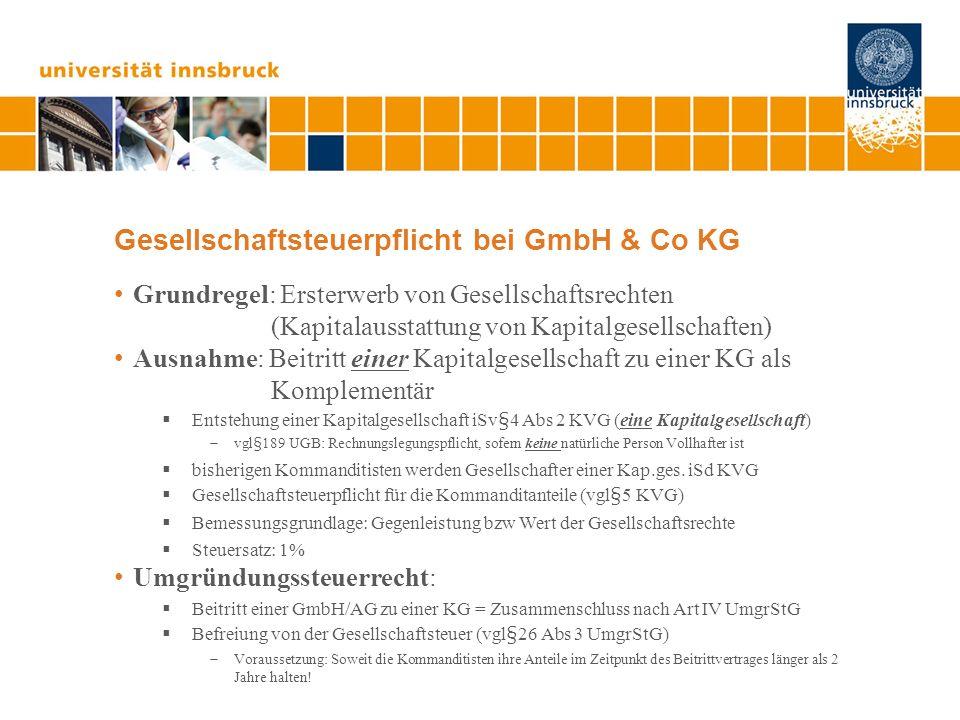 Gesellschaftsteuerpflicht bei GmbH & Co KG