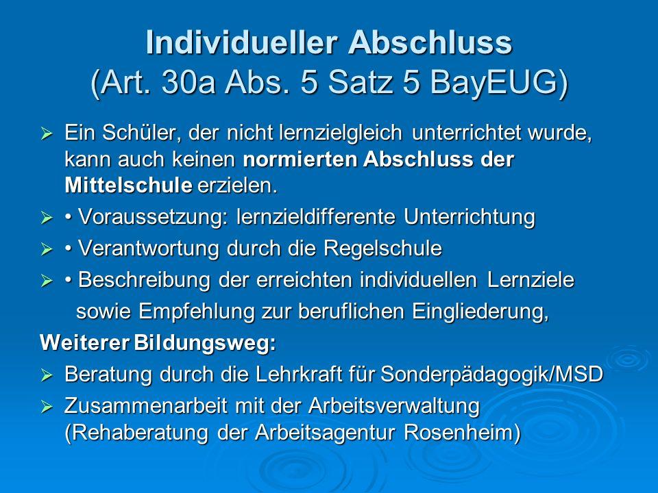Individueller Abschluss (Art. 30a Abs. 5 Satz 5 BayEUG)