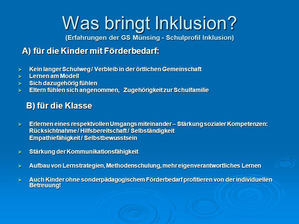 Was bringt Inklusion (Erfahrungen der GS Münsing - Schulprofil Inklusion)