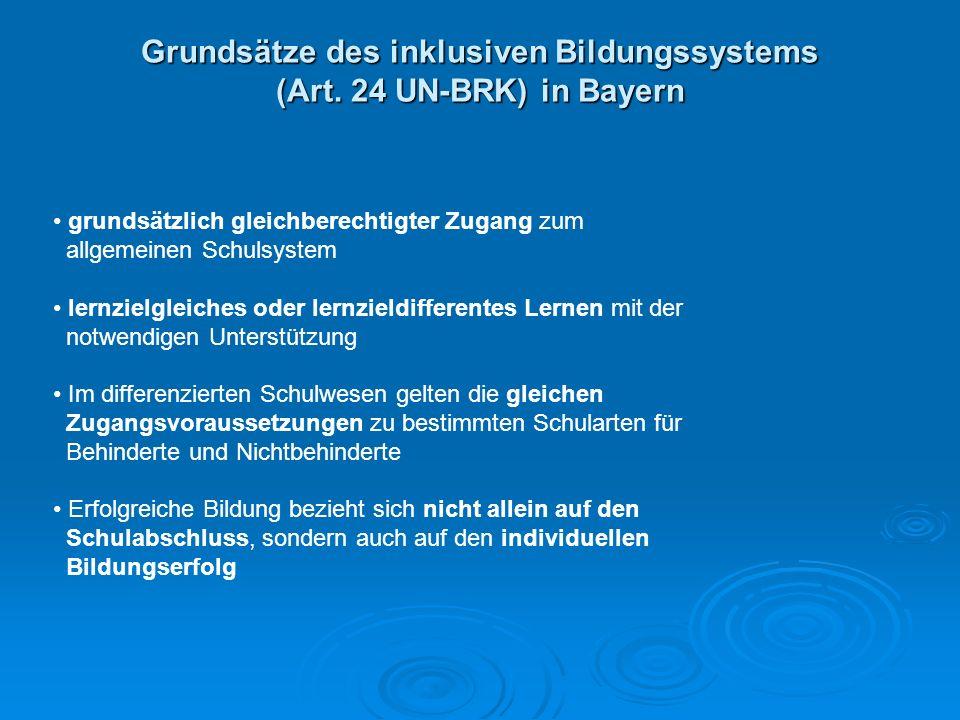 Grundsätze des inklusiven Bildungssystems (Art. 24 UN-BRK) in Bayern