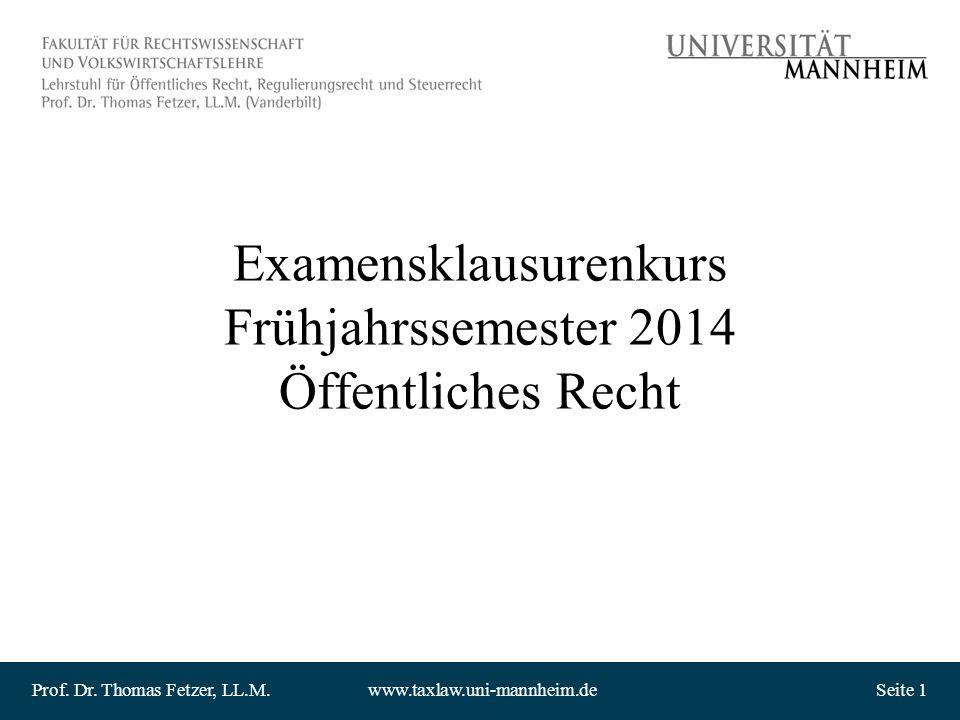 Examensklausurenkurs Frühjahrssemester 2014 Öffentliches Recht