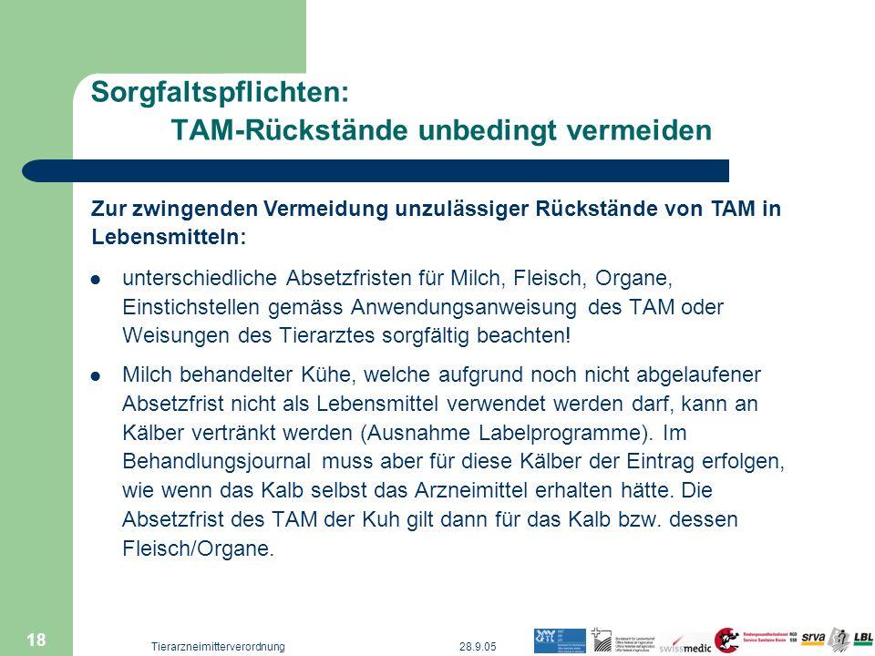 Sorgfaltspflichten: TAM-Rückstände unbedingt vermeiden