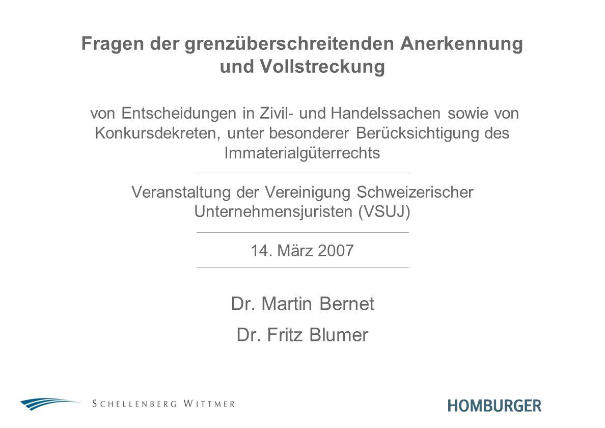 Dr. Martin Bernet Dr. Fritz Blumer