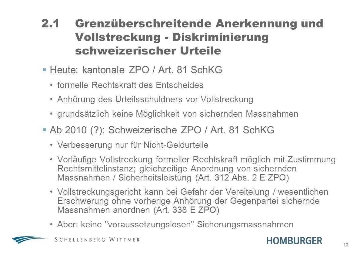 31. März 2017 2.1 Grenzüberschreitende Anerkennung und Vollstreckung - Diskriminierung schweizerischer Urteile.