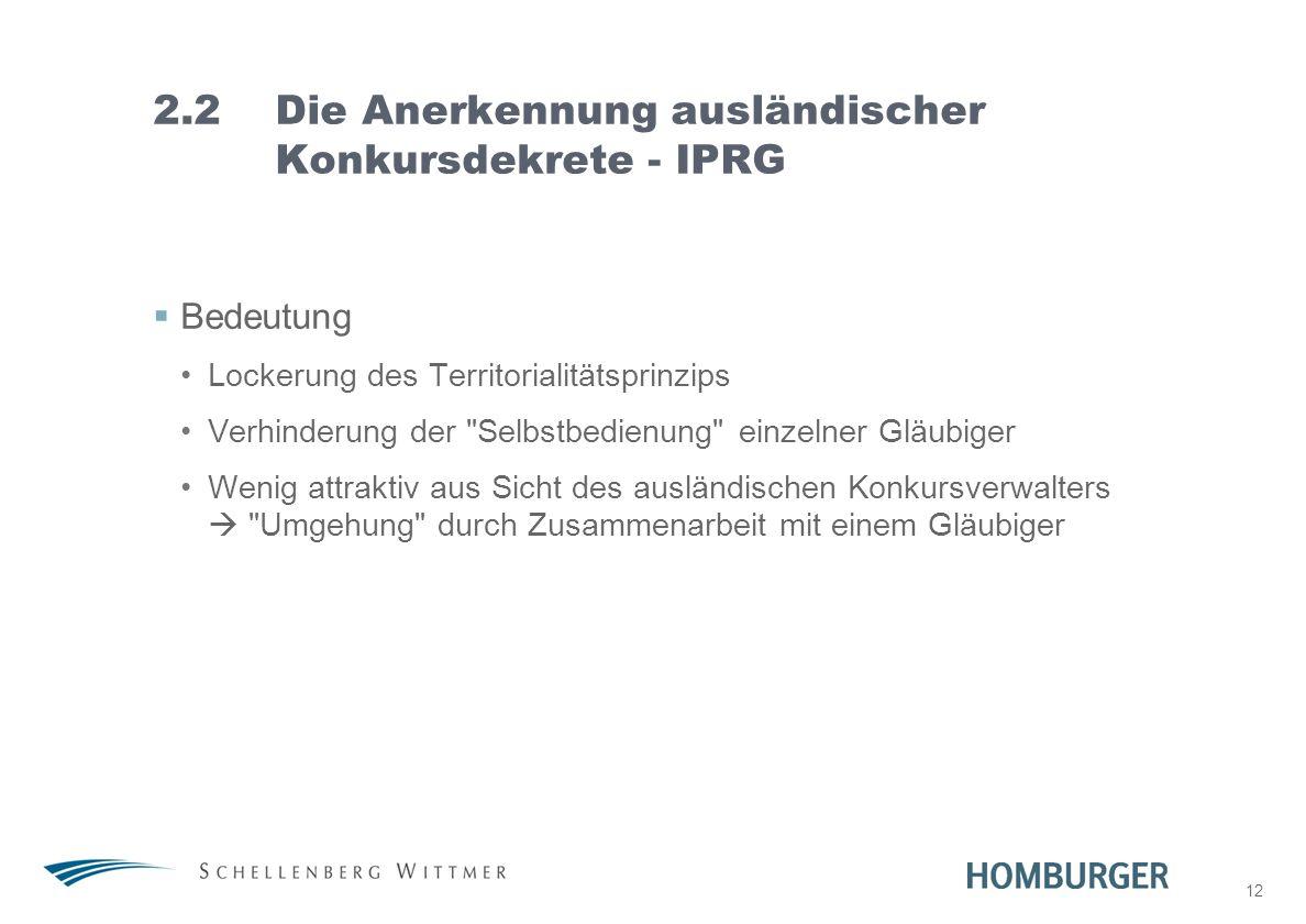 2.2 Die Anerkennung ausländischer Konkursdekrete - IPRG