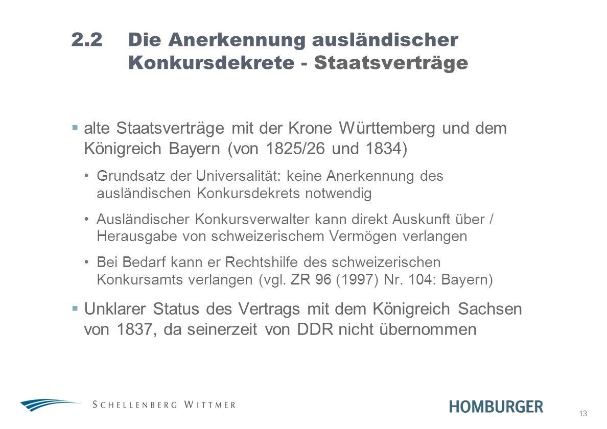 2.2 Die Anerkennung ausländischer Konkursdekrete - Staatsverträge