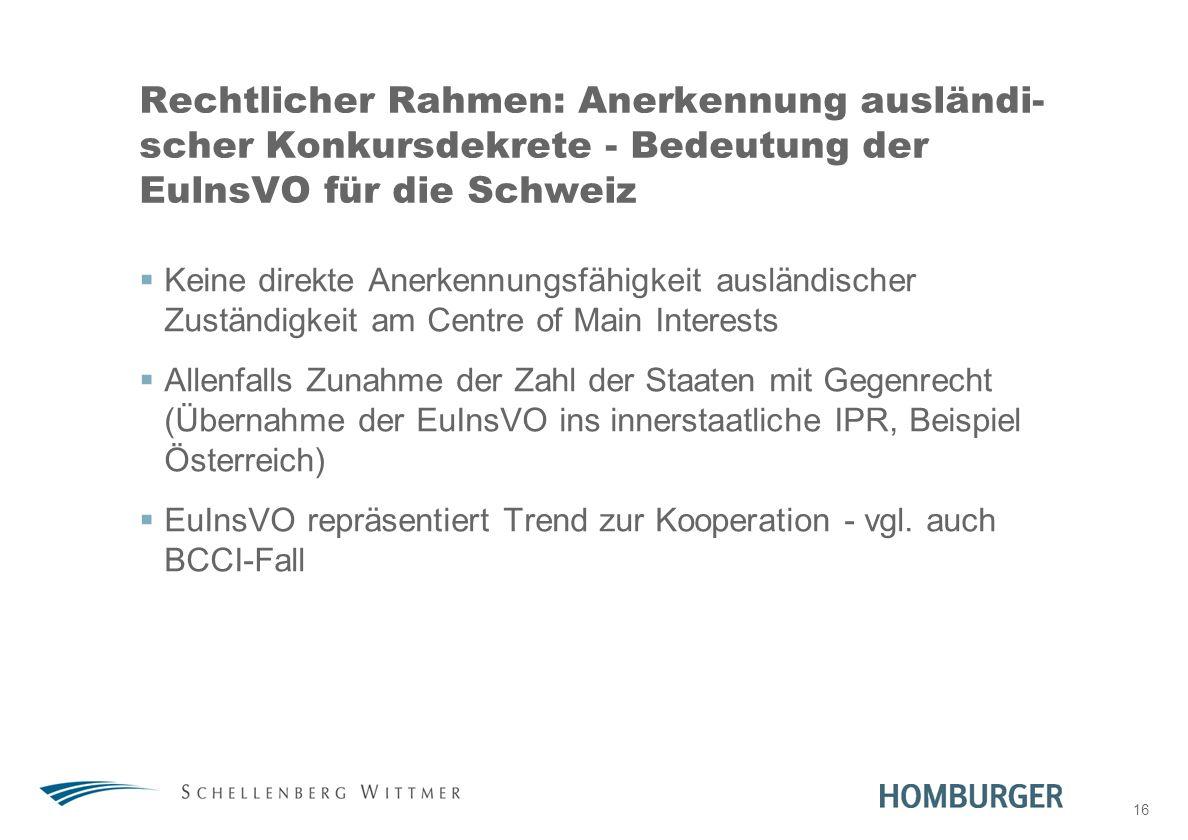 31. März 2017 Rechtlicher Rahmen: Anerkennung ausländi-scher Konkursdekrete - Bedeutung der EulnsVO für die Schweiz.