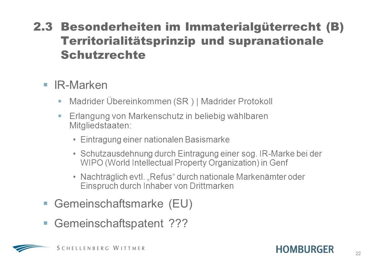 Gemeinschaftsmarke (EU) Gemeinschaftspatent