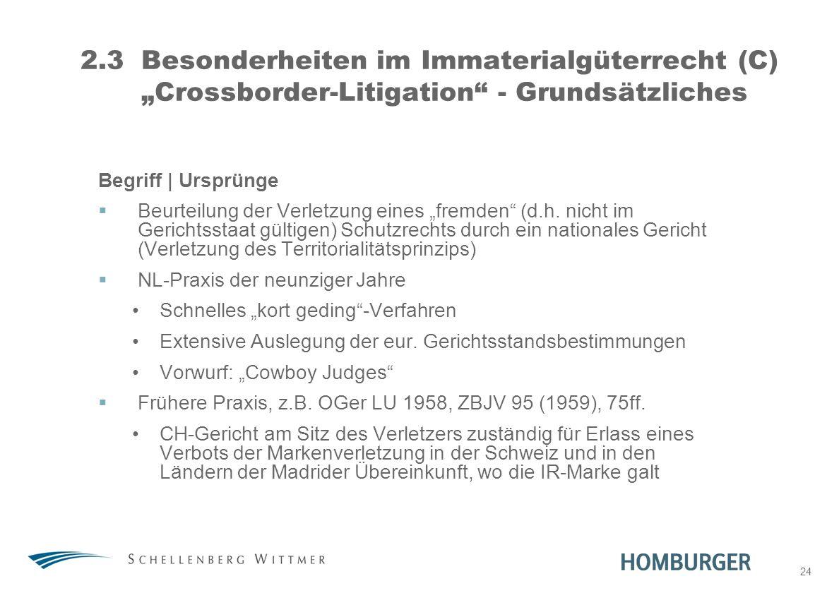 """31. März 2017 2.3 Besonderheiten im Immaterialgüterrecht (C) """"Crossborder-Litigation - Grundsätzliches."""
