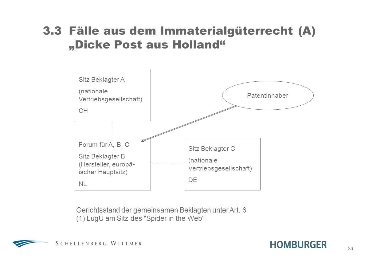"3.3 Fälle aus dem Immaterialgüterrecht (A) ""Dicke Post aus Holland"