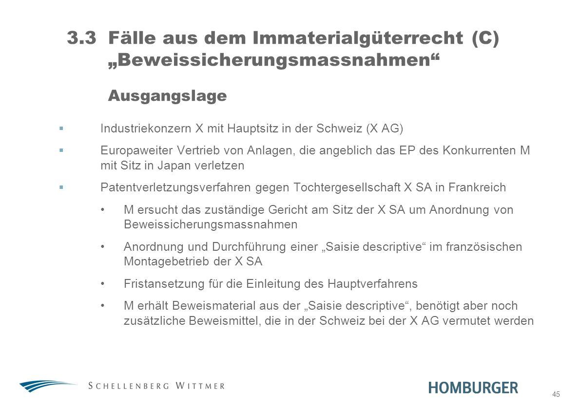 """31. März 2017 3.3 Fälle aus dem Immaterialgüterrecht (C) """"Beweissicherungsmassnahmen Ausgangslage."""