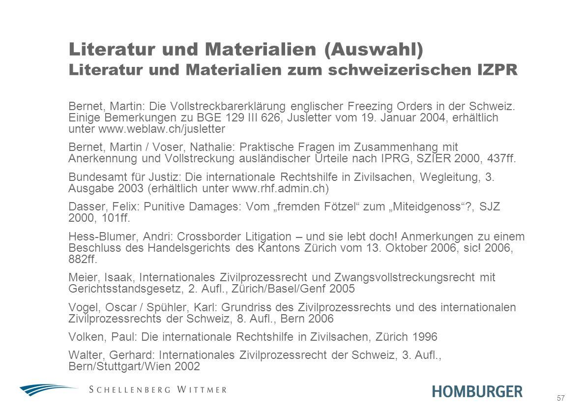 31. März 2017 Literatur und Materialien (Auswahl) Literatur und Materialien zum schweizerischen IZPR.