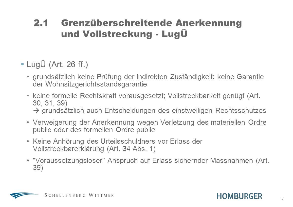 2.1 Grenzüberschreitende Anerkennung und Vollstreckung - LugÜ