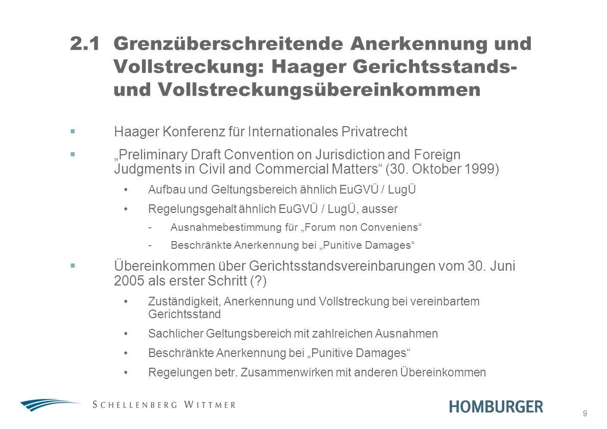 31. März 2017 2.1 Grenzüberschreitende Anerkennung und Vollstreckung: Haager Gerichtsstands- und Vollstreckungsübereinkommen.