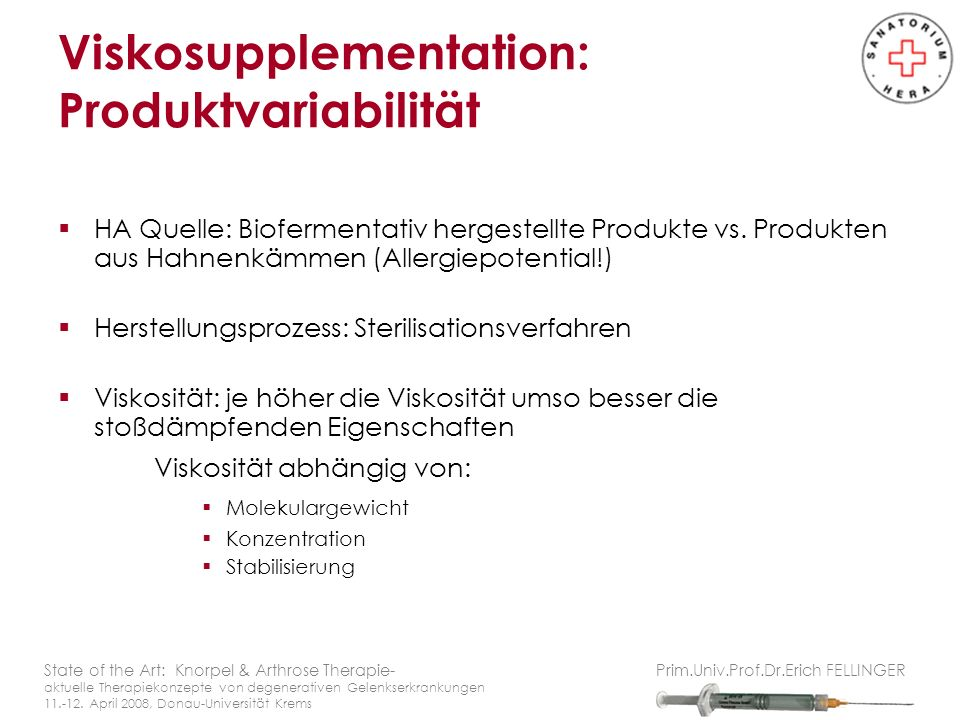 Viskosupplementation: Produktvariabilität