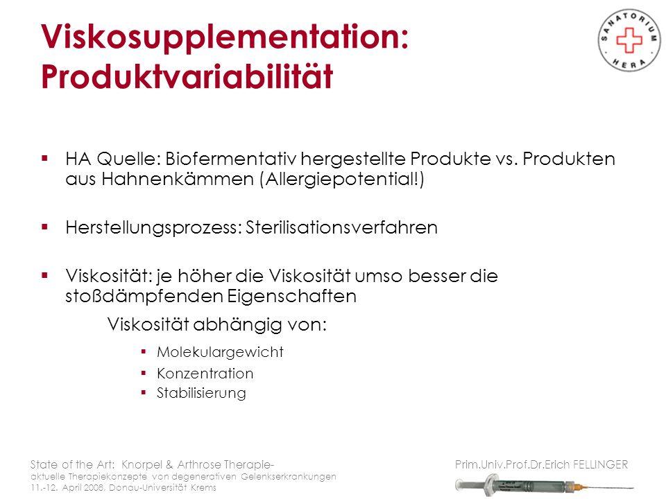 Viskosupplementation: Produktvariabilität