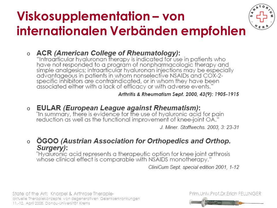 Viskosupplementation – von internationalen Verbänden empfohlen
