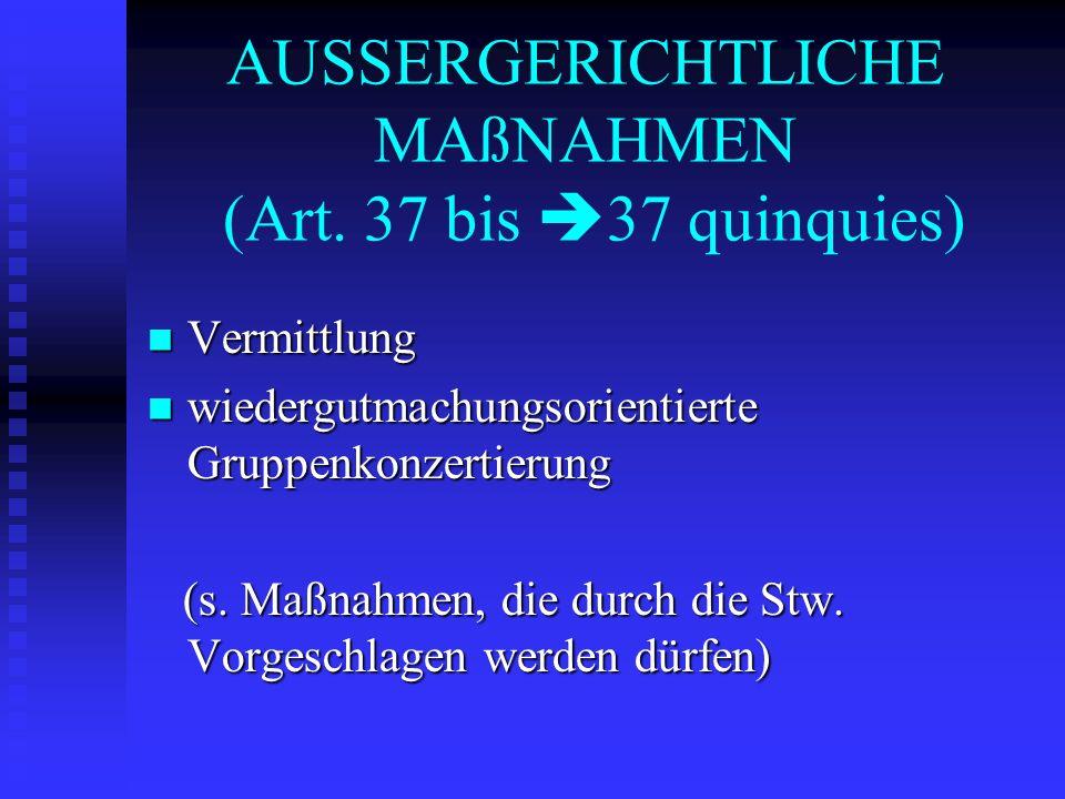 AUSSERGERICHTLICHE MAßNAHMEN (Art. 37 bis 37 quinquies)