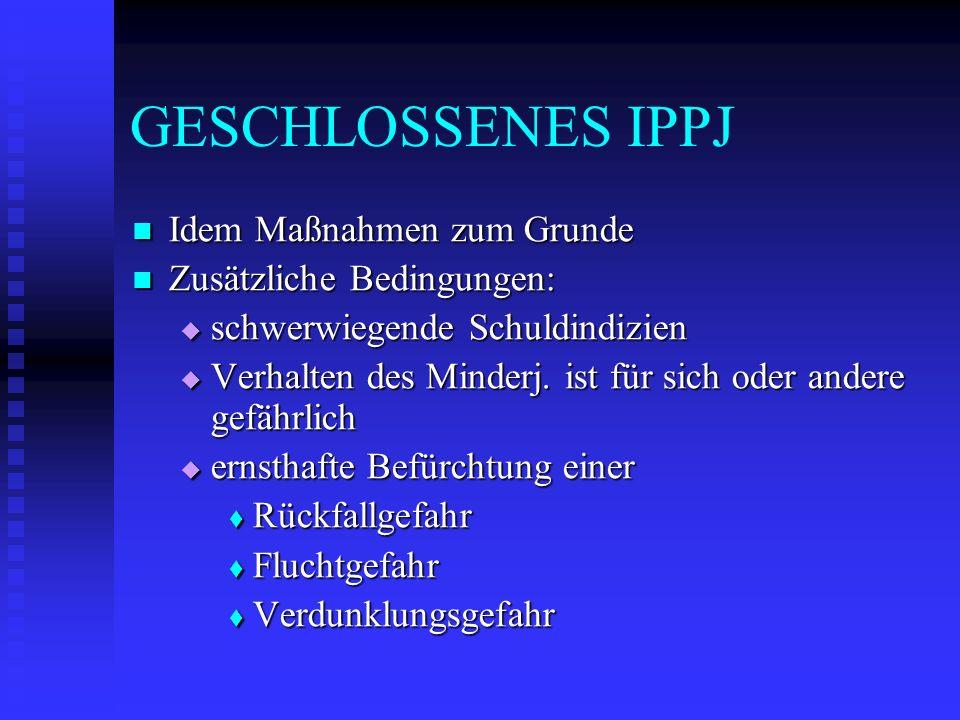 GESCHLOSSENES IPPJ Idem Maßnahmen zum Grunde Zusätzliche Bedingungen: