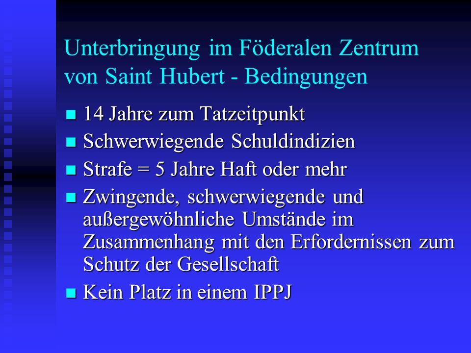 Unterbringung im Föderalen Zentrum von Saint Hubert - Bedingungen