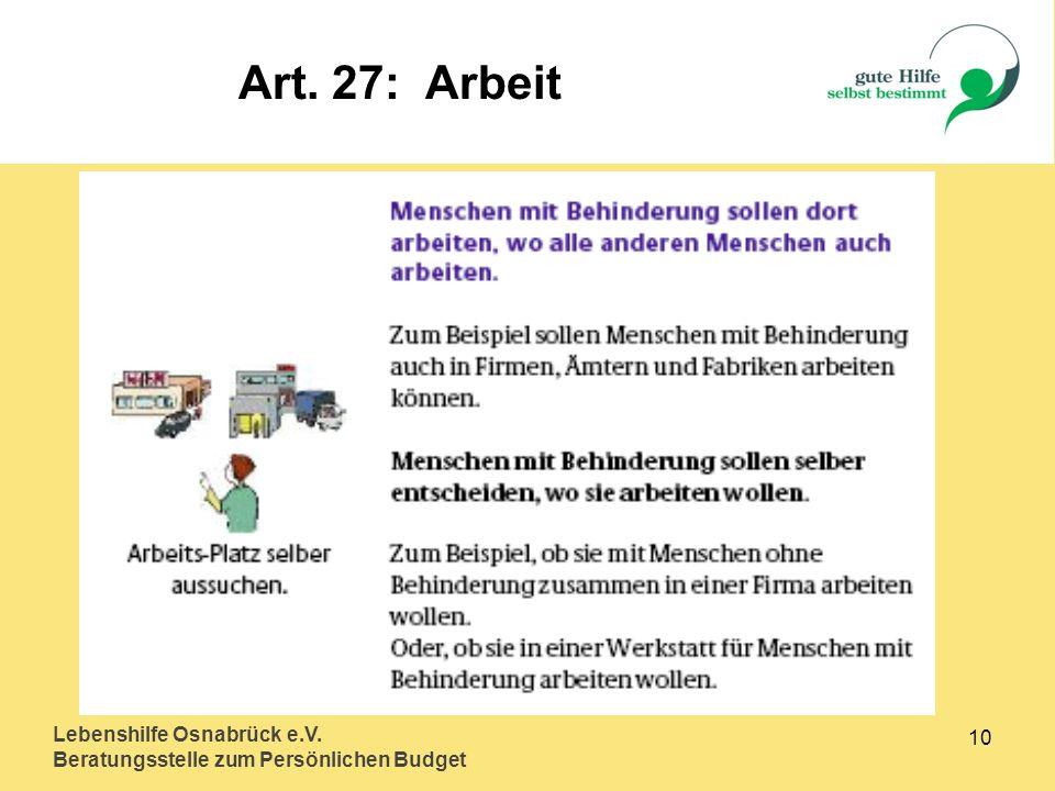 Art. 27: Arbeit Lebenshilfe Osnabrück e.V.