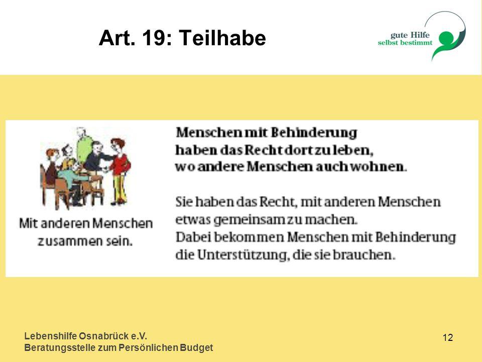 Art. 19: Teilhabe Lebenshilfe Osnabrück e.V. 12