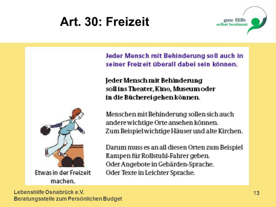 Art. 30: Freizeit Lebenshilfe Osnabrück e.V. 13