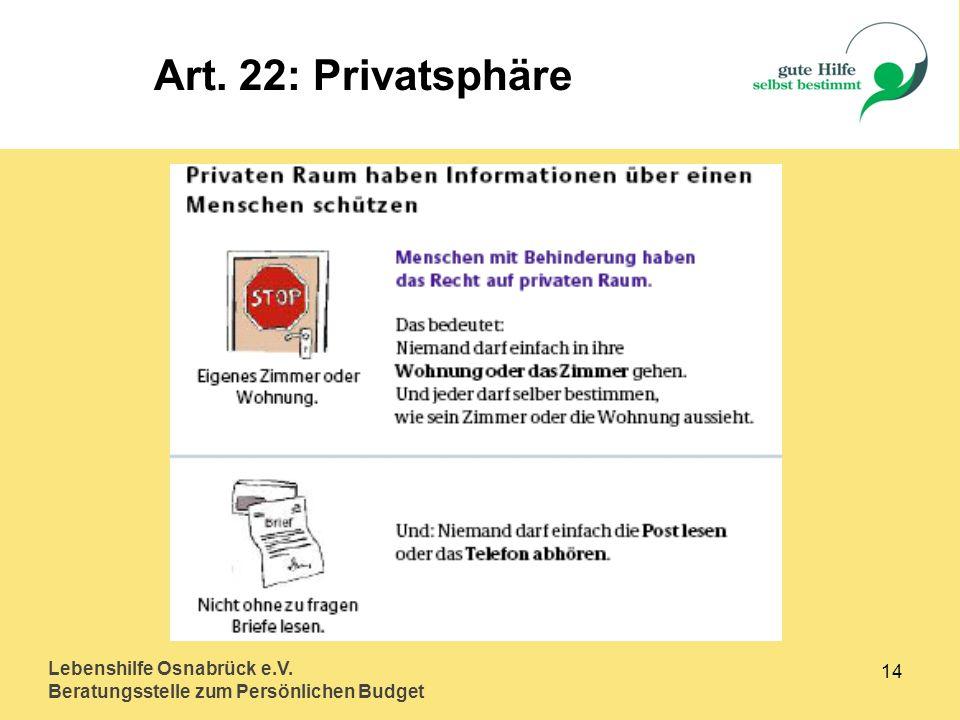 Art. 22: Privatsphäre Lebenshilfe Osnabrück e.V. 14