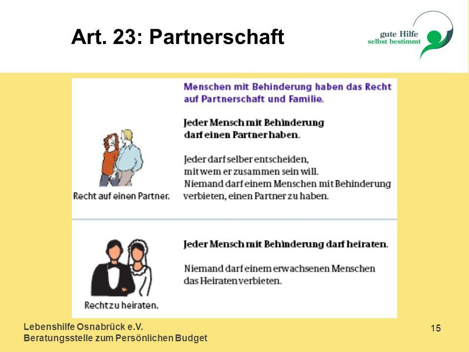 Art. 23: Partnerschaft Lebenshilfe Osnabrück e.V. 15