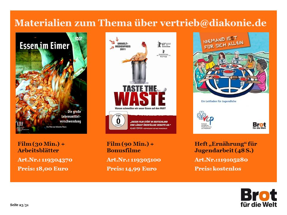 Materialien zum Thema über vertrieb@diakonie.de