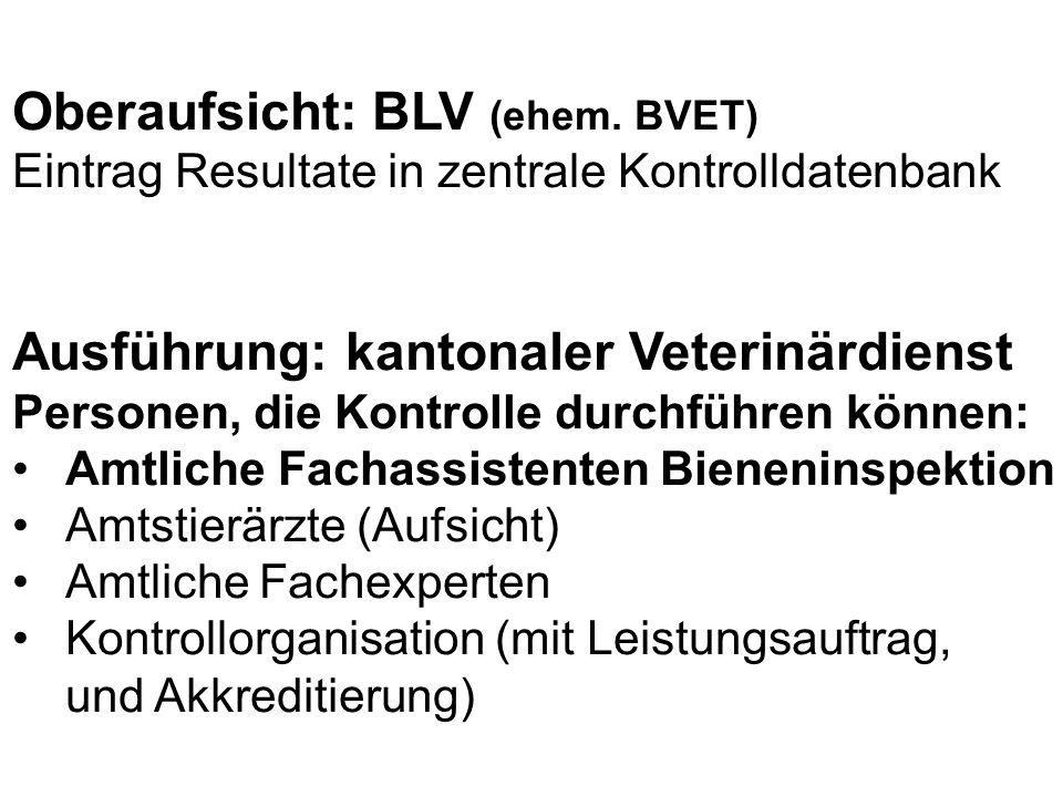 Oberaufsicht: BLV (ehem. BVET)