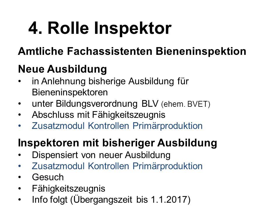 4. Rolle Inspektor Amtliche Fachassistenten Bieneninspektion
