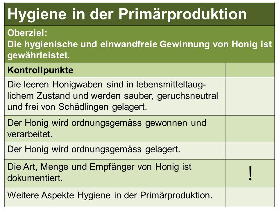 ! Hygiene in der Primärproduktion Oberziel: