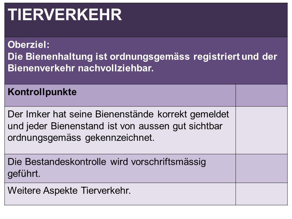 TIERVERKEHR Oberziel: