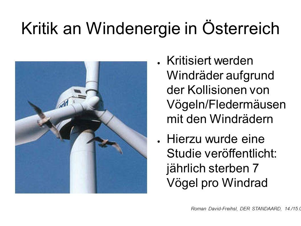 Kritik an Windenergie in Österreich