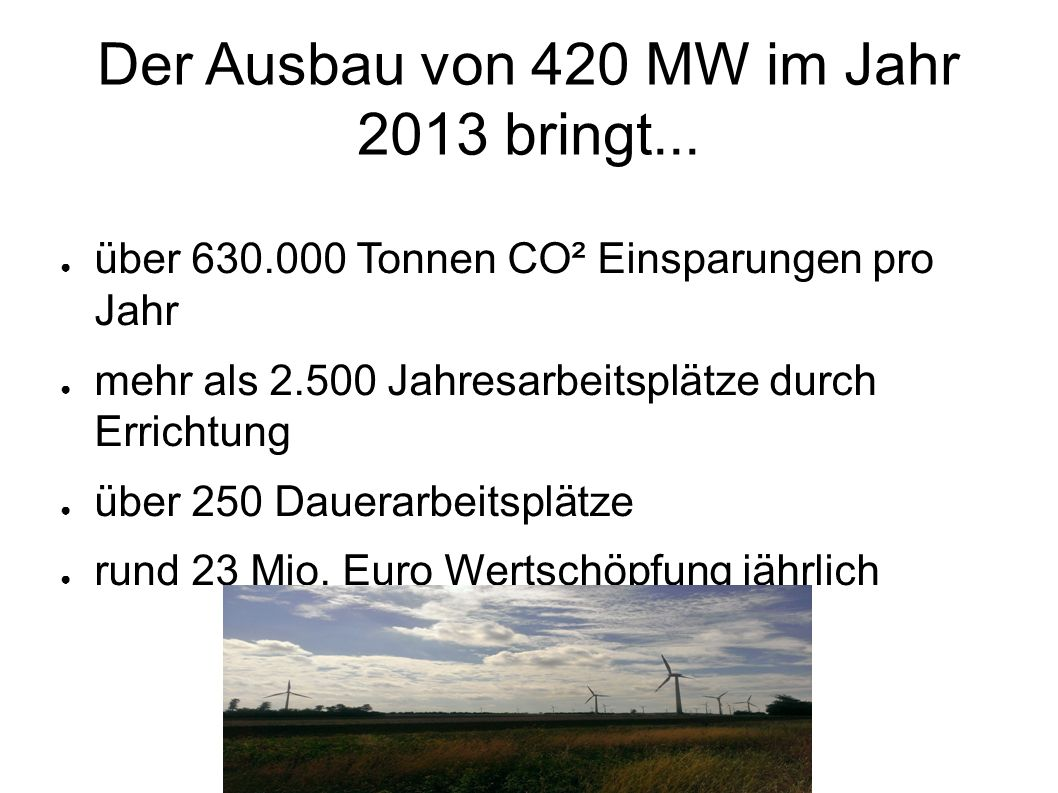 Der Ausbau von 420 MW im Jahr 2013 bringt...