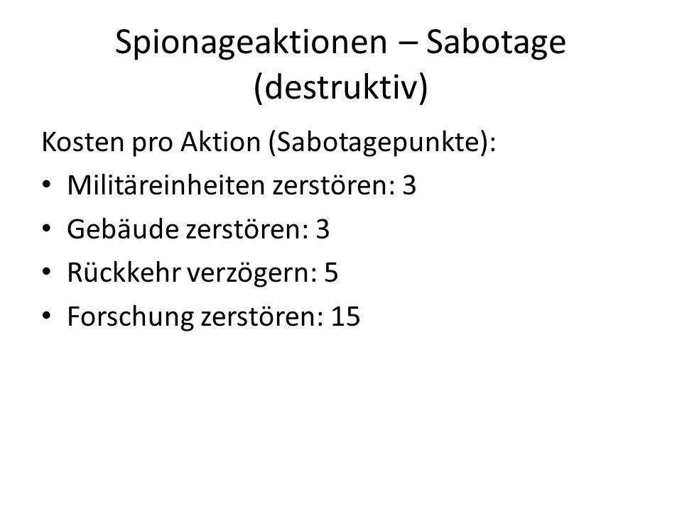 Spionageaktionen – Sabotage (destruktiv)