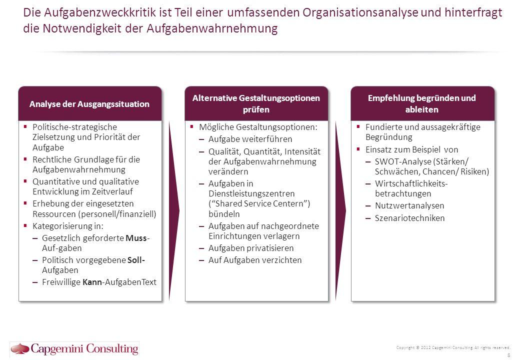 Die Aufgabenzweckkritik ist Teil einer umfassenden Organisationsanalyse und hinterfragt die Notwendigkeit der Aufgabenwahrnehmung