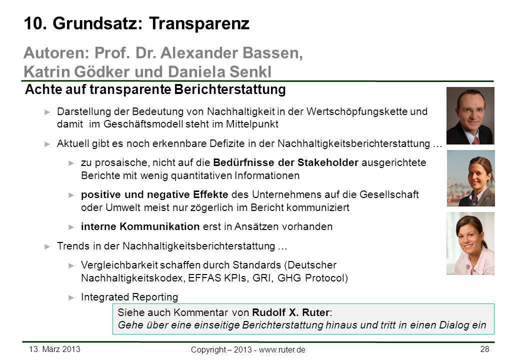 10. Grundsatz: Transparenz