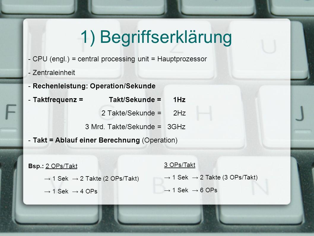 1) Begriffserklärung - CPU (engl.) = central processing unit = Hauptprozessor. - Zentraleinheit. - Rechenleistung: Operation/Sekunde.